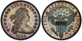 The Dexter specimen 1804 Class I Draped Bust dollar in the Pogue Family Collection is graded PCGS Secure PR65.